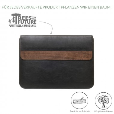 """Woodcessories - EcoPouch - Macbook Tasche - Premium Design Hülle, Notebooktasche, Laptoptasche m. echtem Walnuss Holz & veganem Leder (MacBook 11-13"""")"""