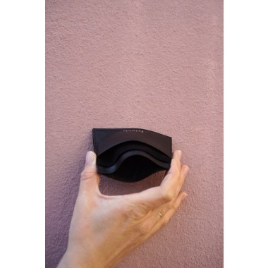 frisch Kartenetui aus fairem Leder schwarz