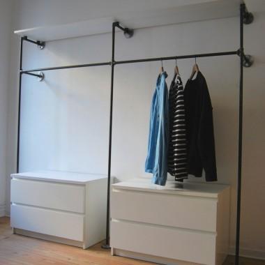 Industrial Design Garderobe & offenes Kleiderschranksystem in Wunschgröße - Kleiderständer für Wandmontage aus Wasserrohr DUO HIGH