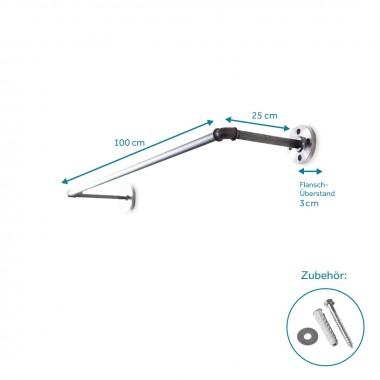 Industrial Style Kleiderstange · Wandgarderobe im Industriedesign SOLID LINE - Tiefe 25 cm