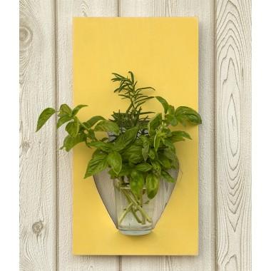 Wandvase flortrait vintage gelb