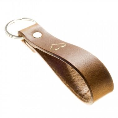 LIEBHARDT - Geschenk mit Herz Leder Schlüsselanhänger Leder zu Weihnachten für Frauen Männer in Gold eingeprägt