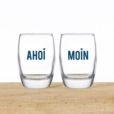 """Bow & Hummingbird Shotgläser im Geschenksäckchen """"Ahoi & Moin"""""""