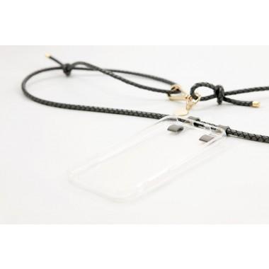 iPhone case zum umhängen mit geflochtener Lederkordel, grau/gold