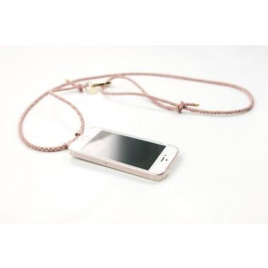 iPhone Hülle zum umhängen mit geflochtener Lederkordel, rosé/gold