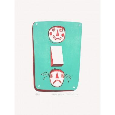 Happy Switch | Linolschnitt