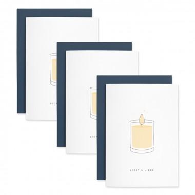 Licht & Liebe | 3er Set Klappkarten inkl. Umschlag | heartfelt paper & co