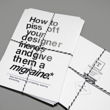 The True Type Set von 5 typografischen Postkarten »How to piss off your designer friends and give them a migraine«