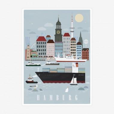 human empire hamburg city poster 50x70cm. Black Bedroom Furniture Sets. Home Design Ideas