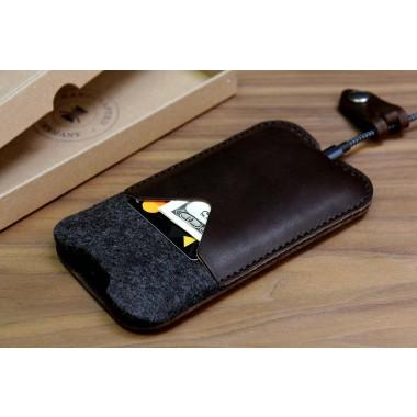 "iPhone 7 / 6S PLUS (5,5"") KIRKBY case - Pflanzlich gegerbtes Leder 100% Merino Wollfilz"