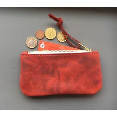 BSaite / Kleines Leder Portemonnaie / kleine Leder Clutch / kleine rote Leder Geldbörse / Reißverschluss Tasche / Geschenk für Freundin