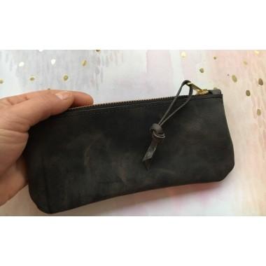 BSaite / Echtleder Mäppchen / kleine Leder Clutch / minimal / Geschenk für Weihnachten