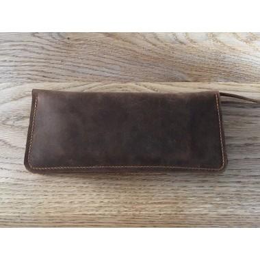 Braune Ledergeldbörse // Portemonnaie // Brown Leather Wallet // minimal // Leder Brieftasche aus Pull Up Leder // Unisex