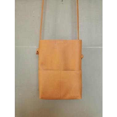 BSAITE / Camel Braune Leder Beuteltasche / Tote Bag