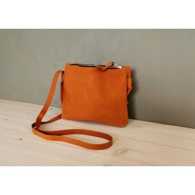 Kleine Crossbody Tasche //Dunkelorangefarbene Tasche // Festival Bag // Leder Umhängetasche // boho
