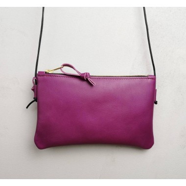Minitasche echt Leder Fuchsia // Smartphonetasche // Handtasche // Tasche zum Reisen // Ledertasche Pink // Minibag