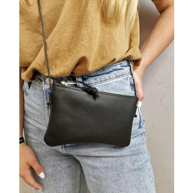 Minitasche // echt Leder schwarz // Smartphonetasche // Handtasche // Tasche zum Reisen // Ledertasche schwarz // Minibag