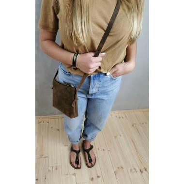 BSAITE / Braune Leder Handtasche / Crossbody Bag