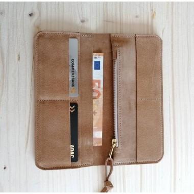 Wildleder Geldbörse // Portemonnaie // Suede Leather Wallet // Beige Leder Brieftasche // Boho // Damen Geldbeutel