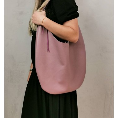 BSAITE / Großer Rosa Lederbeutel / Slouchy Bag