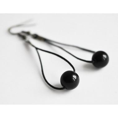 nahili OHRSCHMUCK - schwarze minimalistische Glashänger