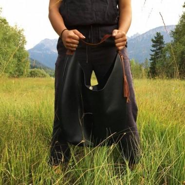 Großer schwarzer Lederbeutel // Lederbeutel Tasche // slouchy Bag // Leder hobo Bag // Ledertote // boho