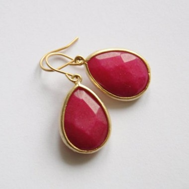 "OHRRINGE Einzelstück ""pink teardrop"" Gelbgold, goldene Granat Tropfen Ohrschmuck"