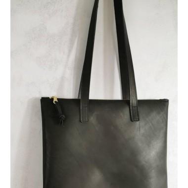 Schwarzer Leder Shopper // Schwarzer Lederbeutel // große Leder Tote //Schultertasche // Reißverschluss // schwarze Ledertasche // minimal