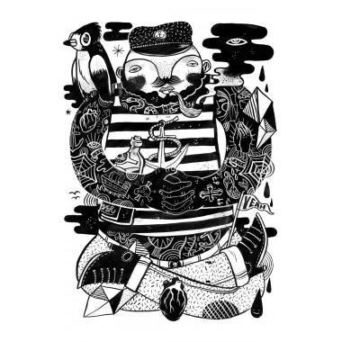 Poster »Käptn Konnie« 50x70cm oder DIN A3, Illustration von Martin Krusche