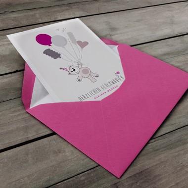 """kleiner mensch Karte """"Herzlichen Glückwunsch"""" (Mädchen)"""