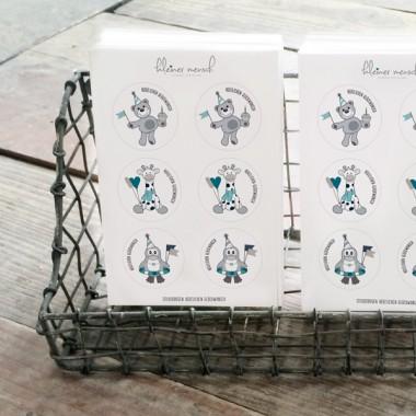 """kleiner mensch Sticker """"Herzlichen Glückwunsch"""" - 12 Stück (Junge)"""