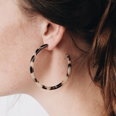 ACETAT HOOPS LARGE stone // EVE + ADIS