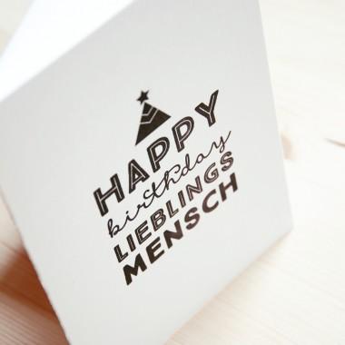 finicrafts Happy Birthday Lieblingsmensch Letterpress-Klappkarte mit Umschlag