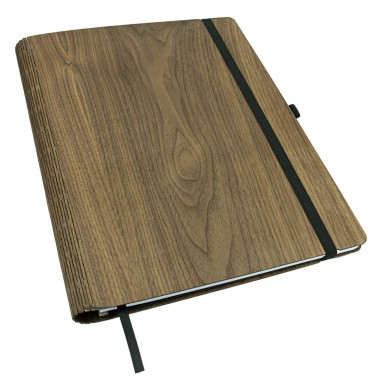 JUNGHOLZ Design Notizbuch,  WoodBook, Walnuss, A4