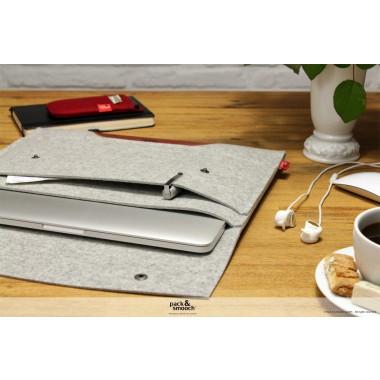 """Pack & Smooch - MacBook Sleeve """"Hampshire"""" 100% Merino Wollfilz, rein pflanzlich gegerbtes Leder"""