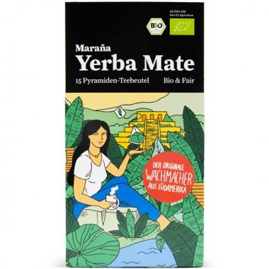 Maraña® Yerba Mate Teebeutel Bio Grün ● 4er-Pack Premium Mate Tee Beutel ● 60 Pyramiden-Teebeutel ● Matetee ● Grüner Tee