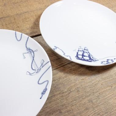 Bow & Hummingbird Porzellanteller Segelschiff