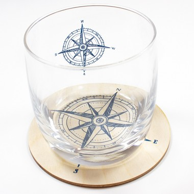 Bow & Hummingbird Untersetzer Kompass (4 Stück)