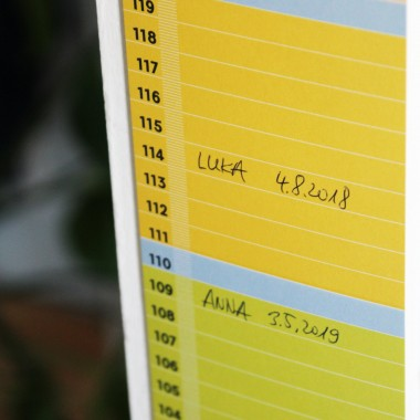 "Minimalistische Design-Messlatte ""mannometer"" | beidseitig bedruckt | 70 bis 190 cm | Variante ""bunt"" | 100% Recyclingpapier"