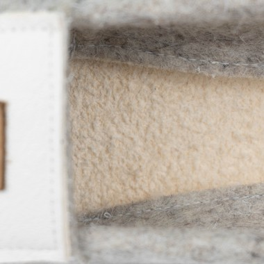 MEIN EIN & ALLES Hausschuhe für Damen aus Merino-Wolle und Bio-Leder in Weiß