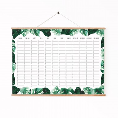 "Paperlandscape   Zeitloser Wandkalender A3 ""Geburtstagskalender Monstera""   Posterkalender   hochwertiger Aquarell Kalender   zeitlos und immerwährend"