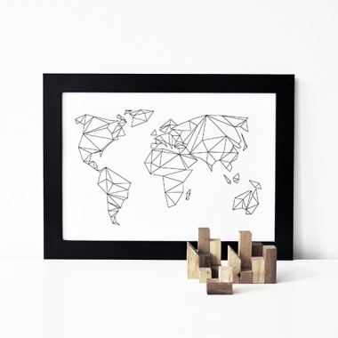 "nahili POSTER ""Geometrical World"" Grafik Weltkarte (DIN A1-A4 & 50x70 cm)"