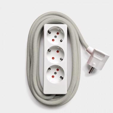 Njustudio Steckerleiste (weiß) mit 3m Textilkabel