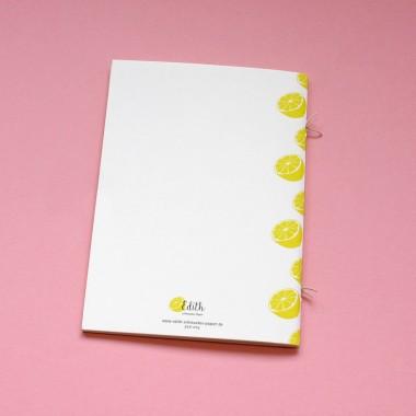Edith schmuckes Papier Notizheft A6 mit Fadenbindung und Zitronen Motiv