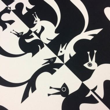 Print now - Riot later ● Nusskumpel Wandbehang, Siebdruck