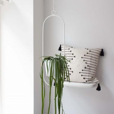 "adorist - Hängetopf, Dekoring mit Blumentopf ""Hanging Garden"" Oval, weiß"