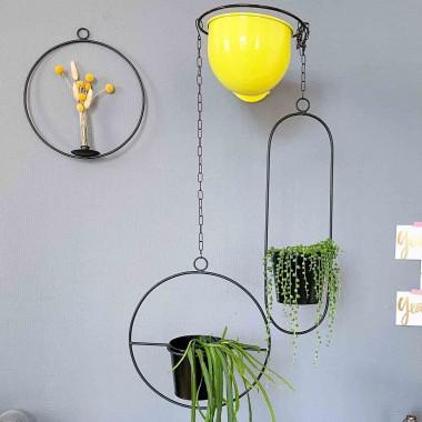"adorist - Hängetopf, Dekoring mit Blumentopf ""Hanging Garden"" Oval, schwarz"