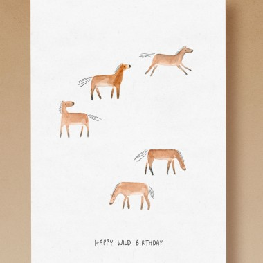 tucán y limón – Takhi Wildpferde / Happy Wild Birthday / Aquarell Postkarte A6 (5er-Set)