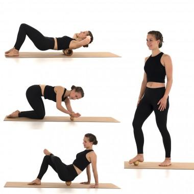 rollholz – Balanceboard & Faszienset zum Training für Gleichgewicht- & Koordinationsfähigkeit sowie Behandlung von beanspruchten Muskelgewebestrukturen (Set klein   Buche)