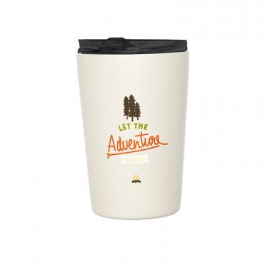 Isolierter Edelstahl Kaffee Becher - Let the Adventure begin von Roadtyping